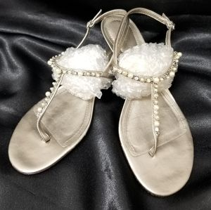 Ann Taylor Pearls & Rhinestone Leather Sandals 8M